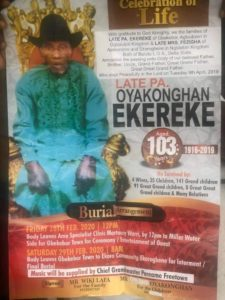 Obituary: Gbekebor to shake tomorrow as late Pa Oyakongha, aged 103 journeys home – The Liberator
